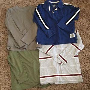 Bundle of 4 boys long sleeved shirts size 6/7.